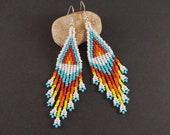 Beaded earrings native american style White Chandelier boho earring Seed bead bohemian fringe long dangles colorful stylish bright earrings