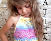 Crochet top Pattern Colorful toddler top Boho wrap top Pattern Beach clothing kids Crochet bikini top Halteer top Crochet crop top Pattern