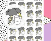 Bad Day Planner Stickers - Mood Tracker Stickers - Cat Planner Stickers - Thunderstorm Planner Stickers - Cloud Planner Stickers - 1677