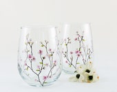 Cherry blossoms stemless wine glasses // Hand painted // Gift for Mom // Pink flowers // Set of 2