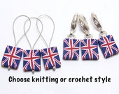 British Flag Stitch Markers, Union Jack Progress Keepers, United Kingdom Flag, Red White Blue, Polymer Clay Cane, Knit Crochet Gift