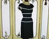 July Sale Vintage Black and White Day Dress by Lanz Originals. Medium.