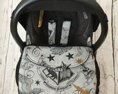 Hand made LIMITED EDITION harry potter inspired fabric  baby car seat apron harness straps universal fit  stay on blanket  fitted grey black