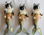 RESERVED for Louise and Manuela. Cat mermaid hanging decoration