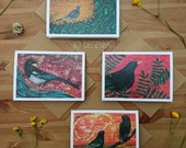 Bird greeting cards, pack of 4 cards, Starling, Magpie, Blackbird, Fieldfare