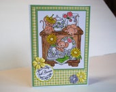 Handmade Card Just Because- Mice Playing in China Teapots - Card in Yellow, Green, Purple