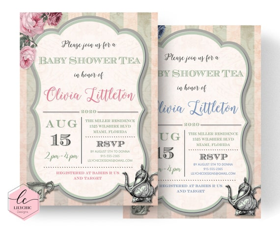 Printable baby shower tea party invitation tea party baby shower il570xn filmwisefo