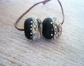 Lampwork Glass Etched Bead pair of 2 Black Webbed Ivory with Fine Silver Organic Shape