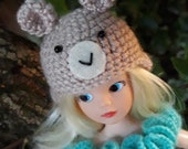 crochet teddy bear hat for Sindy and Barbie/Azone Pure Neemo