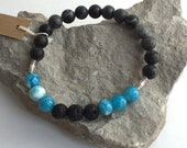 "7"" Agate and Quartzite diffuser bracelet, lava bead jewelry, gemstones, black and blue, aromatherapy, unisex, his, hers, gift under 10,"