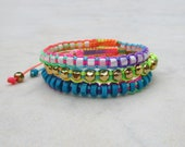 Neon rainbow friendship bracelets, stacking cord bracelet, turquoise howlite macrame bracelet, gold bead bracelet, mother of pearl bracelet