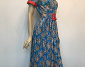 PAYMENT ONE - RESERVED Early 1950s vintage vibrant paisley summer dress with red accents - w30""