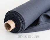 Charcoal linen fabric by the yard, Dark grey linen fabric, Linen fabric for home decor, clothing or curtains, Soft linen fabric by meter