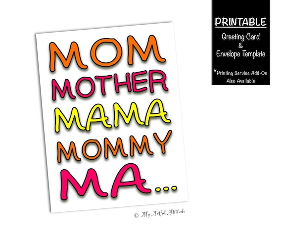 Mothers Day Card Printable Funny Birthday Card For Mom Silly Mama