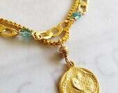 Bracelet - Saint Mary Magdalene Charm - Apatite & 18K Gold Vermeil