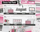 """CHOOSE YOUR MONTH   Monthly View Kit   """"At The Office"""" Exclusive Glossy Kit   4+ Pages, 150+ Stickers"""