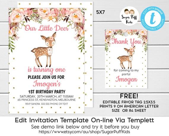 Deer birthday invitations oh my deer birthday invitation deer il570xn filmwisefo