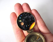 Solar System Compass, Hand-Painted in Enamel, Miniature Outer Space Intricate Artwork