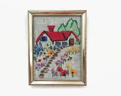 Vintage Small Framed Embroidery, House & Flowers, Garden Path, Wall Hanging