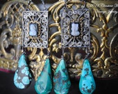 RESERVE For R.P.--Turquoise And Sardonyx- EARRINGS