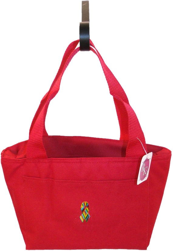 Rainbow Gay Pride Marriage Equality Awareness Ribbon Monogram Cooler Bag  Red READY TO SHIP! Insulated Lunch Pail Custom Embroidered Tote