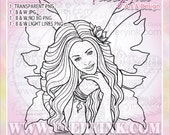 Daydreamer Fairy Fae Faery UNCOLORED Digital Stamp Image Adult Coloring Page jpeg png jpg Fantasy Craft Cardmaking Papercrafting DIY