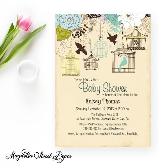 Bird cage baby shower invitation bird baby shower invite rustic il570xn filmwisefo