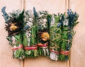 Botanical smudge wands - homegrown - hemp twine - sage, lavender and sacred tobacco