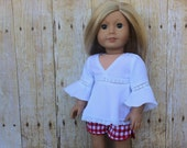 "White boho style blouse and red gingham check shorts for 18"" dolls such as American Girl and My Imagination"