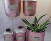 Vintage Retro pink Anodized Aluminium Kitchen Canisters 1930s set of five graduated