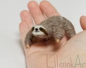 Sloth pin, Cute sloth jewelry, Felted sloth brooch, Lazy sloth, Miniature sloth jewellery, Made to Order