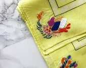 Golden yellow and pink hand stitched floral bandana neck scarf embroidered accessory