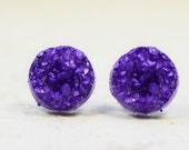 Deep Purple Druzy Earrings, 12mm Purple Faux Druzy Cabochons Stainless Steel, Sparkly Violet Geometric Posts Circle Studs