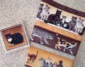 Stoffpaket *Cat Fan*  mit drei verschiedenen Stoffmustern unterschiedlicher Größe