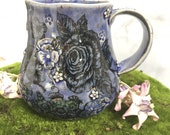 19# Giant Ceramic Stoneware Coffee Cup - Botanical Floral Design