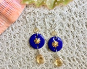 Custom Order For Paula, Hand Made Enamel Drop Earrings, Sterling Silver