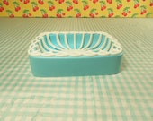 1960s Blue Plastic Soap Dish