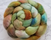 BFL Bluefaced Leicester Firestar 'Dried Leaves' 4.1 oz spinning roving by Spinning Mermaid. Spinning fiber, hand dyed roving, combed top