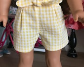 "18 inch , 18"" doll clothes -  Paper bag style yellow  and white gingham shorts."