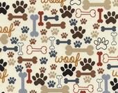Pfoten Timeless Treasures woof creme Hund Katze Stoff reine Baumwolle 0,5 m USA Designerstoff Kinder Tiere Knochen Pfoten