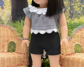 SHORTS in Black Knit with Black White Checked Crop TOP with Bracelet Headband and SANDALS Option for American Girl or 18 Inch Doll