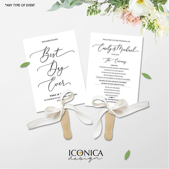 wedding program a la carte booklet template or printed cards 5x7