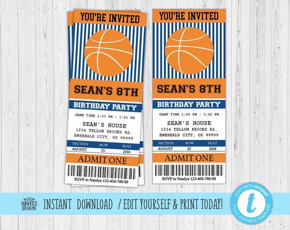 Basketball Ticket Invitation Basketball Birthday Party Ticket