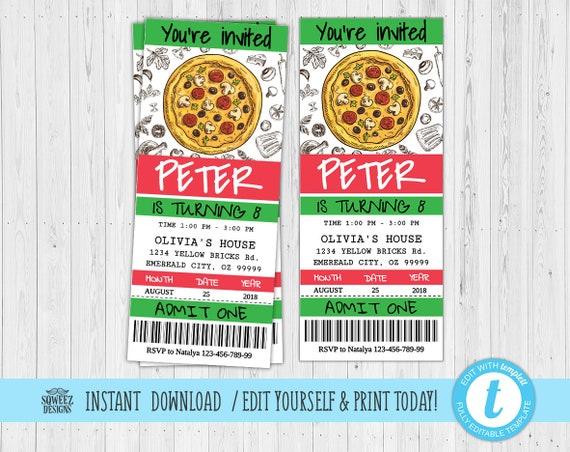 pizza party invitation pizza birthday party team party invitation