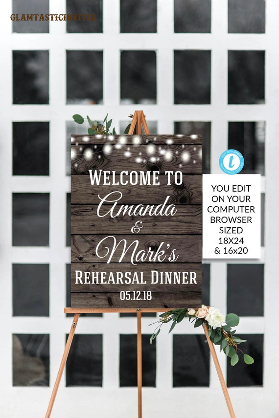 Rehearsal Dinner Welcome Sign Template Rustic Wedding Sign Shower