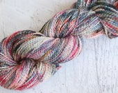 Variegated Worsted Weight Cotton Boucle Yarn (100% Tanguis Cotton) Hand Dyed in Autumn Watercolor like colors