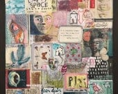 RESERVED for C...      Soul Quiet, Mixed Media Painting, Folk Art, Collage Quilt, Mystele
