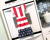 2 Stars and Stripes Dish Towel Dresses in Red, White and Blue