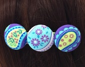 Purple Floral and Paisley Fabric Covered Button French Barrette/Hair Accessories/Gifts for Her/by Allica Designs - Free Shipping in the US