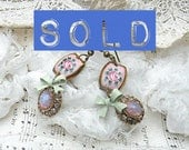 SOLD..dainty romantic pink roses earrings summer floral link upcycled vintage jewelry jewel cottage chic one of a kind